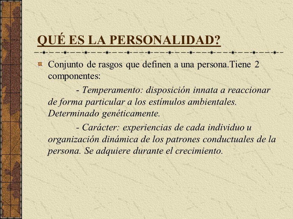 QUÉ ES LA PERSONALIDAD Conjunto de rasgos que definen a una persona.Tiene 2 componentes: