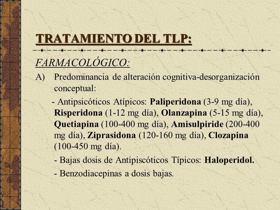 TRATAMIENTO DEL TLP: FARMACOLÓGICO:
