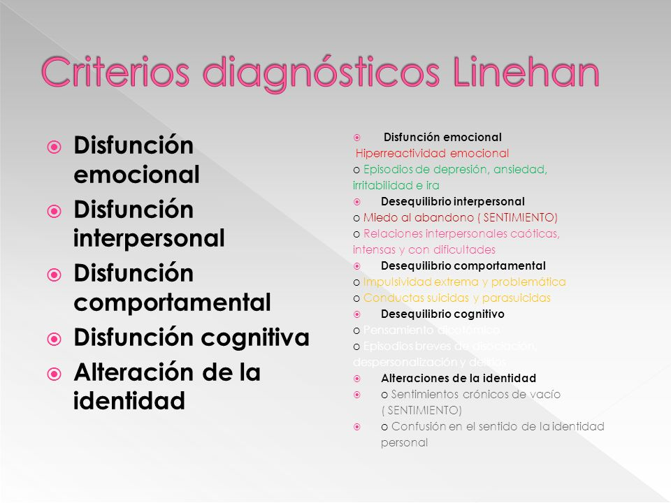 Criterios diagnósticos Linehan