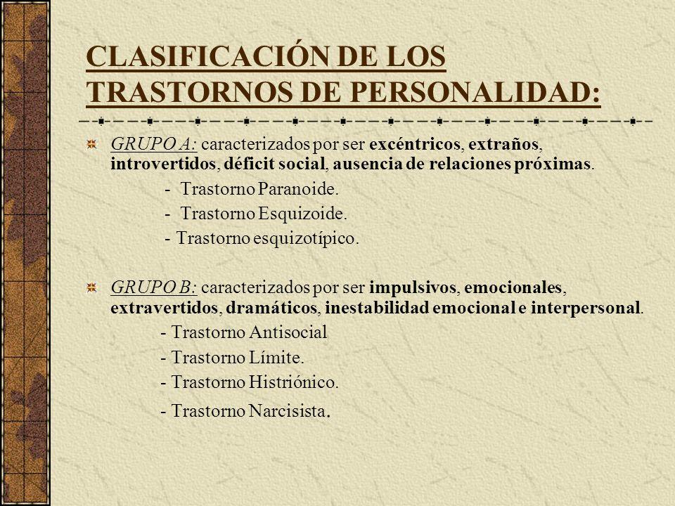 CLASIFICACIÓN DE LOS TRASTORNOS DE PERSONALIDAD: