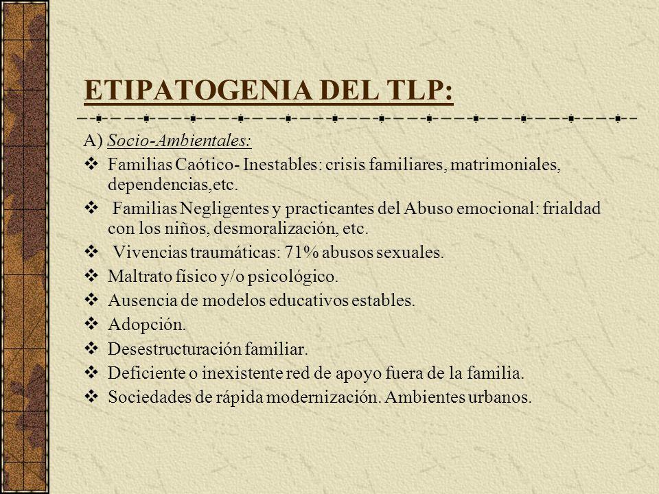 ETIPATOGENIA DEL TLP: A) Socio-Ambientales: