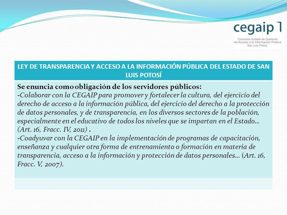LEY DE TRANSPARENCIA Y ACCESO A LA INFORMACIÓN PÚBLICA DEL ESTADO DE SAN LUIS POTOSÍ