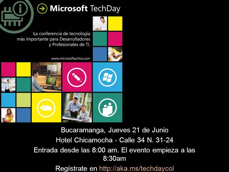 Bucaramanga, Jueves 21 de Junio Hotel Chicamocha - Calle 34 N. 31-24