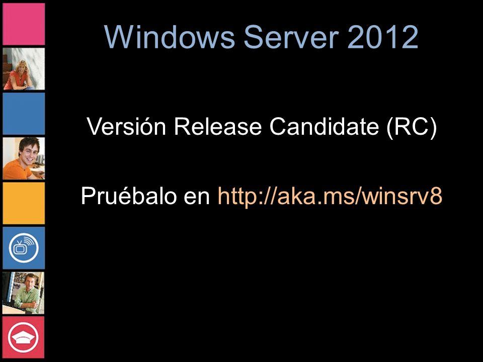 Versión Release Candidate (RC) Pruébalo en http://aka.ms/winsrv8