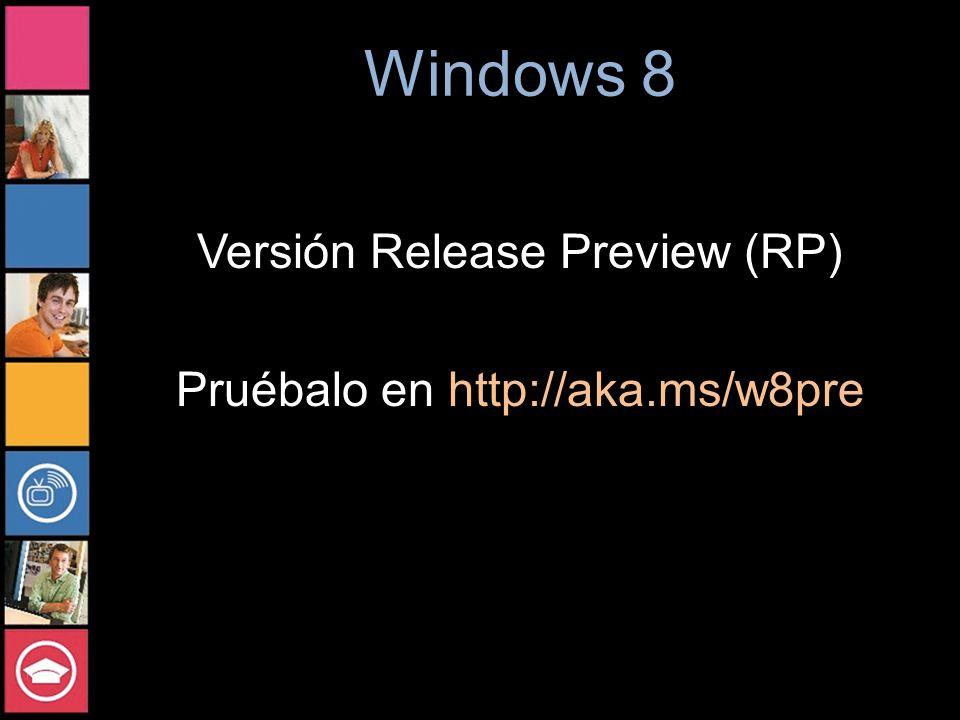 Versión Release Preview (RP) Pruébalo en http://aka.ms/w8pre