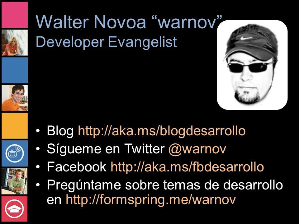 Walter Novoa warnov Developer Evangelist