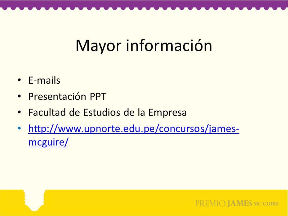 Mayor información E-mails Presentación PPT
