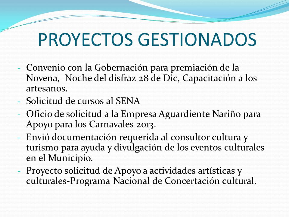 PROYECTOS GESTIONADOS