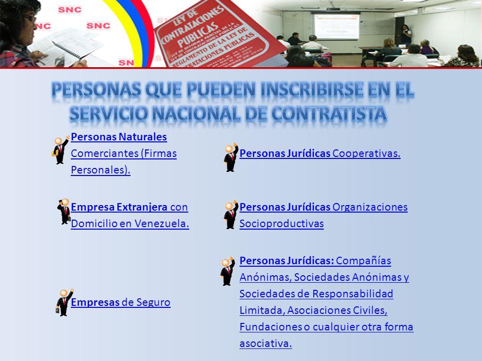 PERSONAS que pueden Inscribirse en el Servicio nacional de contratista