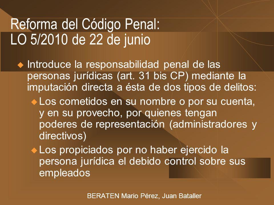 Reforma del Código Penal: LO 5/2010 de 22 de junio