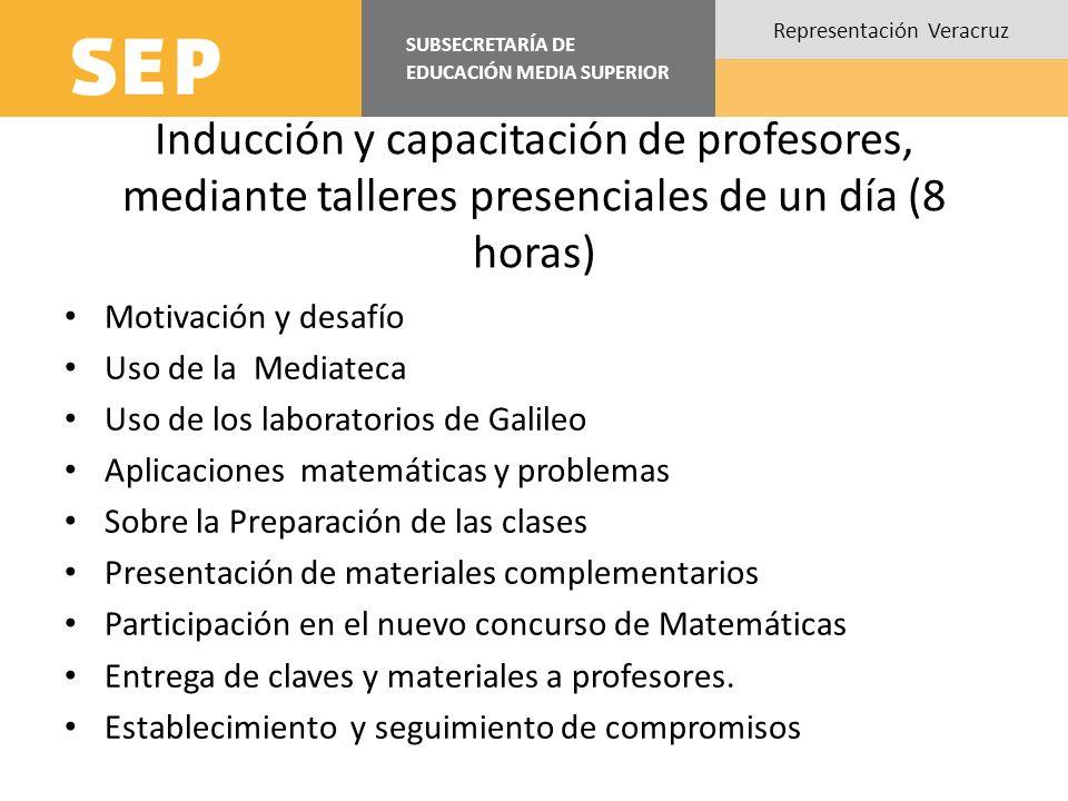 Inducción y capacitación de profesores, mediante talleres presenciales de un día (8 horas)