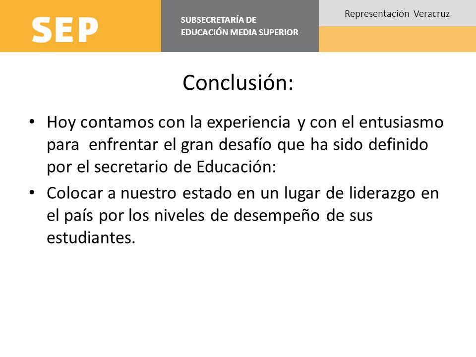 Conclusión: Hoy contamos con la experiencia y con el entusiasmo para enfrentar el gran desafío que ha sido definido por el secretario de Educación: