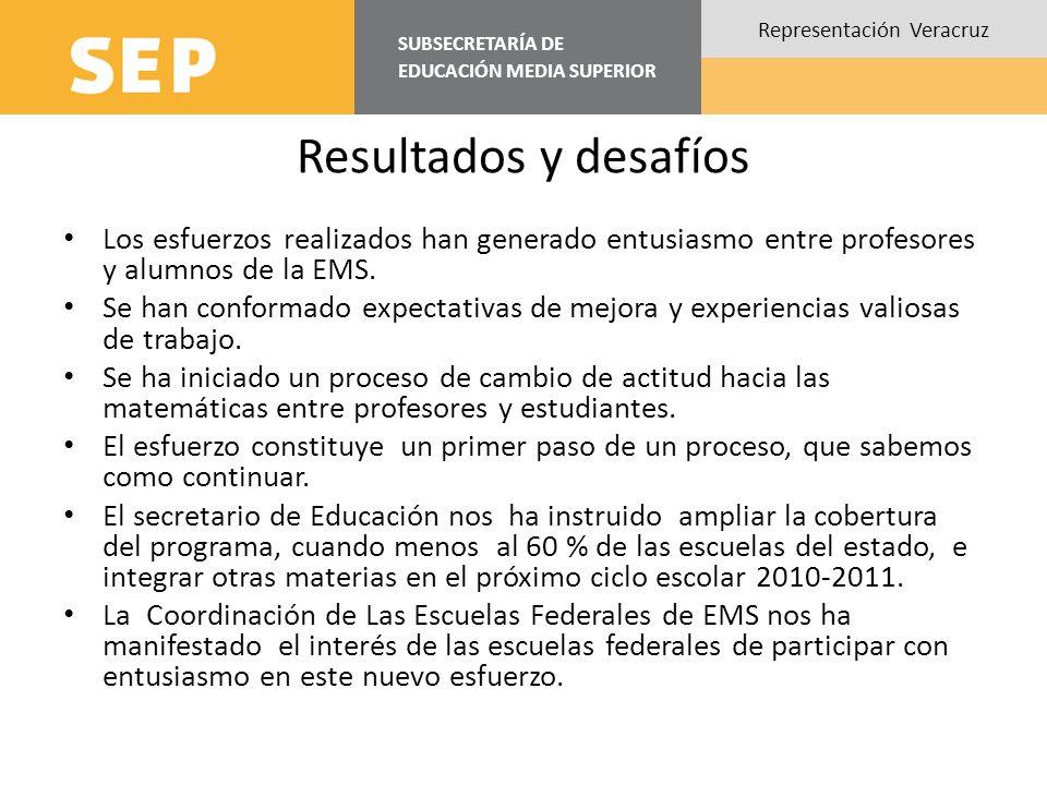 Resultados y desafíos Los esfuerzos realizados han generado entusiasmo entre profesores y alumnos de la EMS.