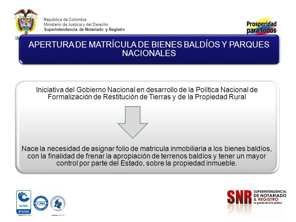 APERTURA DE MATRÍCULA DE BIENES BALDÍOS Y PARQUES NACIONALES