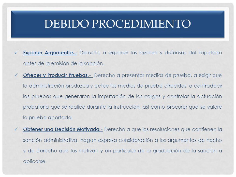 Debido procedimiento Exponer Argumentos.- Derecho a exponer las razones y defensas del imputado antes de la emisión de la sanción.
