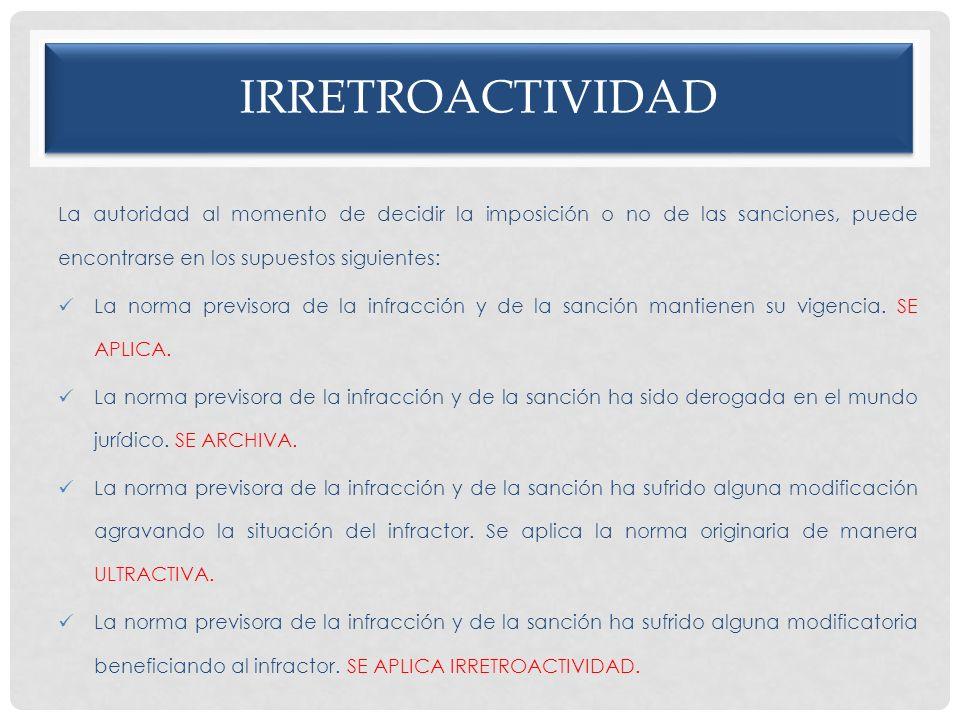 irretroactividad La autoridad al momento de decidir la imposición o no de las sanciones, puede encontrarse en los supuestos siguientes: