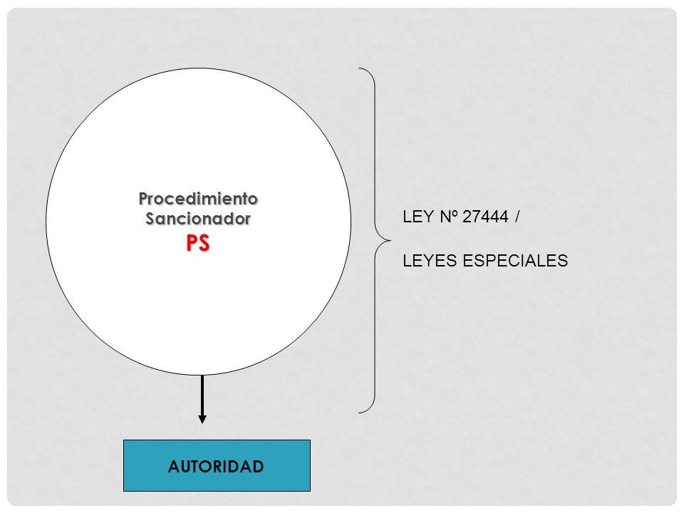 PS Procedimiento Sancionador LEY Nº 27444 / LEYES ESPECIALES AUTORIDAD