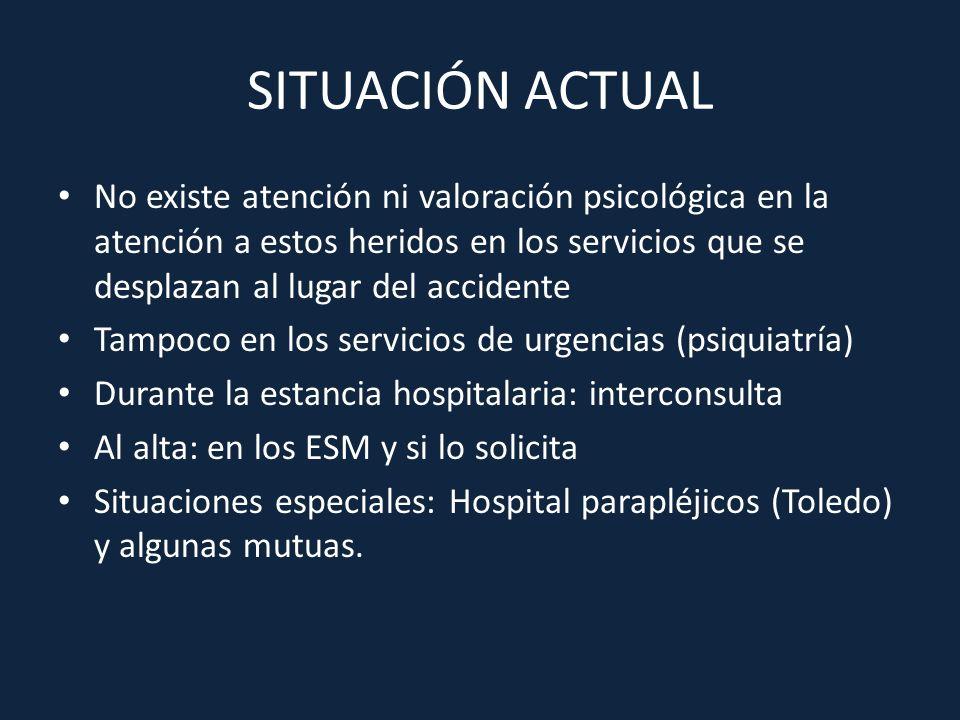 SITUACIÓN ACTUAL No existe atención ni valoración psicológica en la atención a estos heridos en los servicios que se desplazan al lugar del accidente.