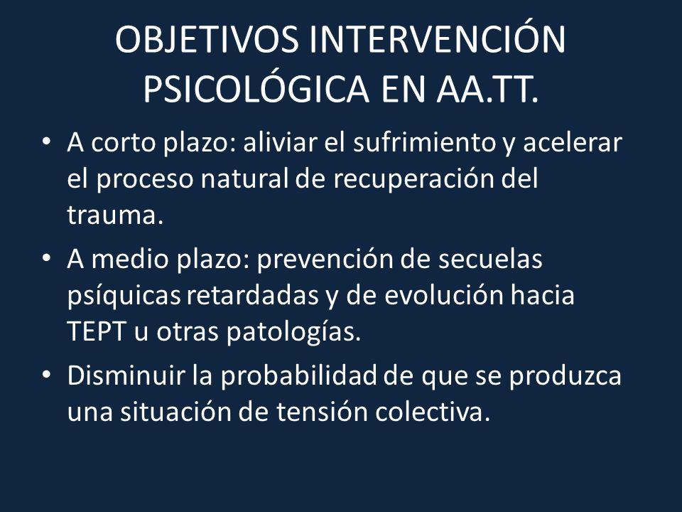 OBJETIVOS INTERVENCIÓN PSICOLÓGICA EN AA.TT.