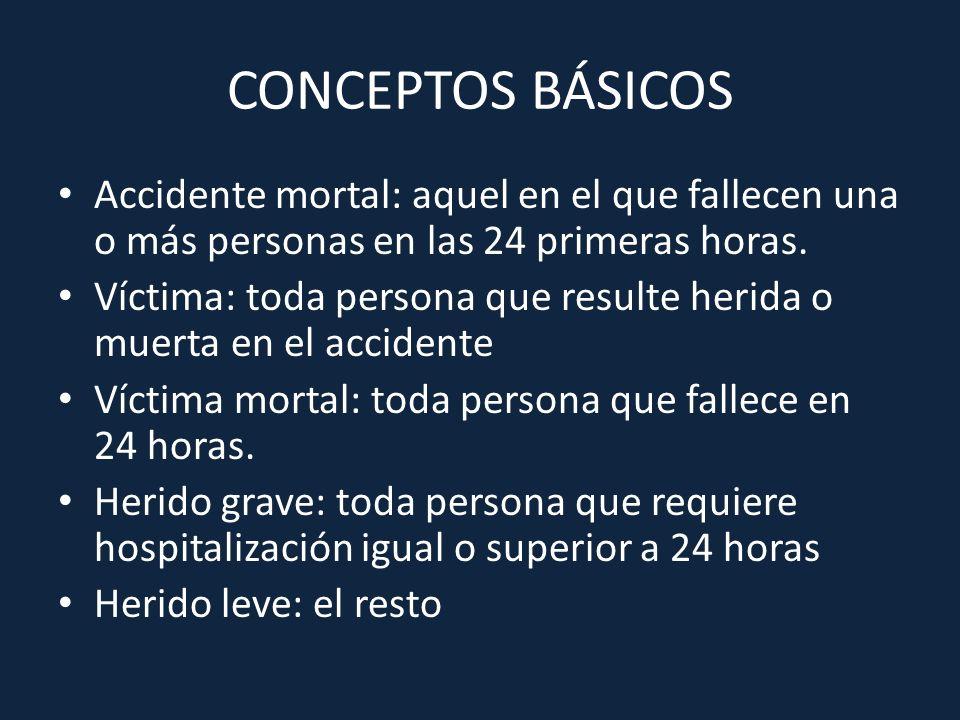 CONCEPTOS BÁSICOS Accidente mortal: aquel en el que fallecen una o más personas en las 24 primeras horas.