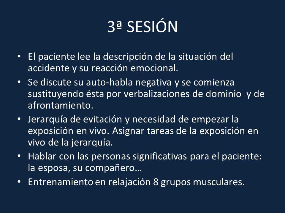 3ª SESIÓN El paciente lee la descripción de la situación del accidente y su reacción emocional.