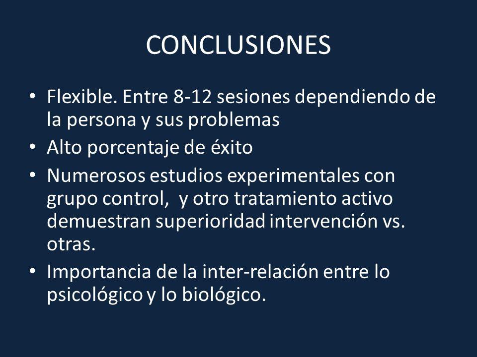 CONCLUSIONES Flexible. Entre 8-12 sesiones dependiendo de la persona y sus problemas. Alto porcentaje de éxito.