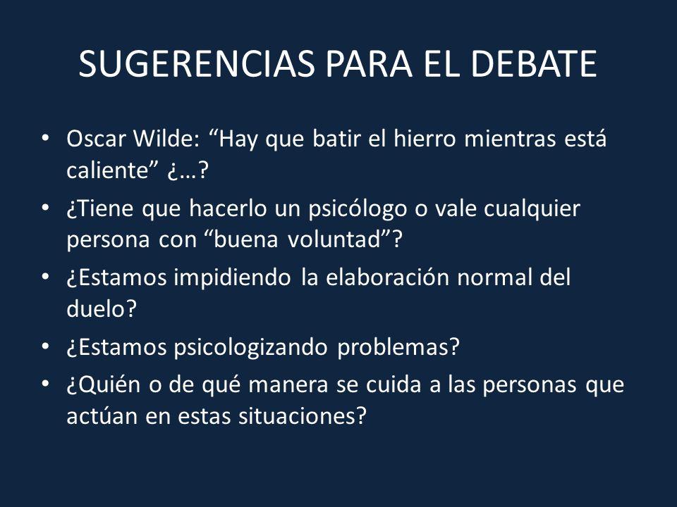 SUGERENCIAS PARA EL DEBATE