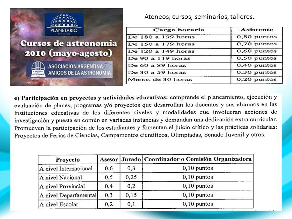 Ateneos, cursos, seminarios, talleres.