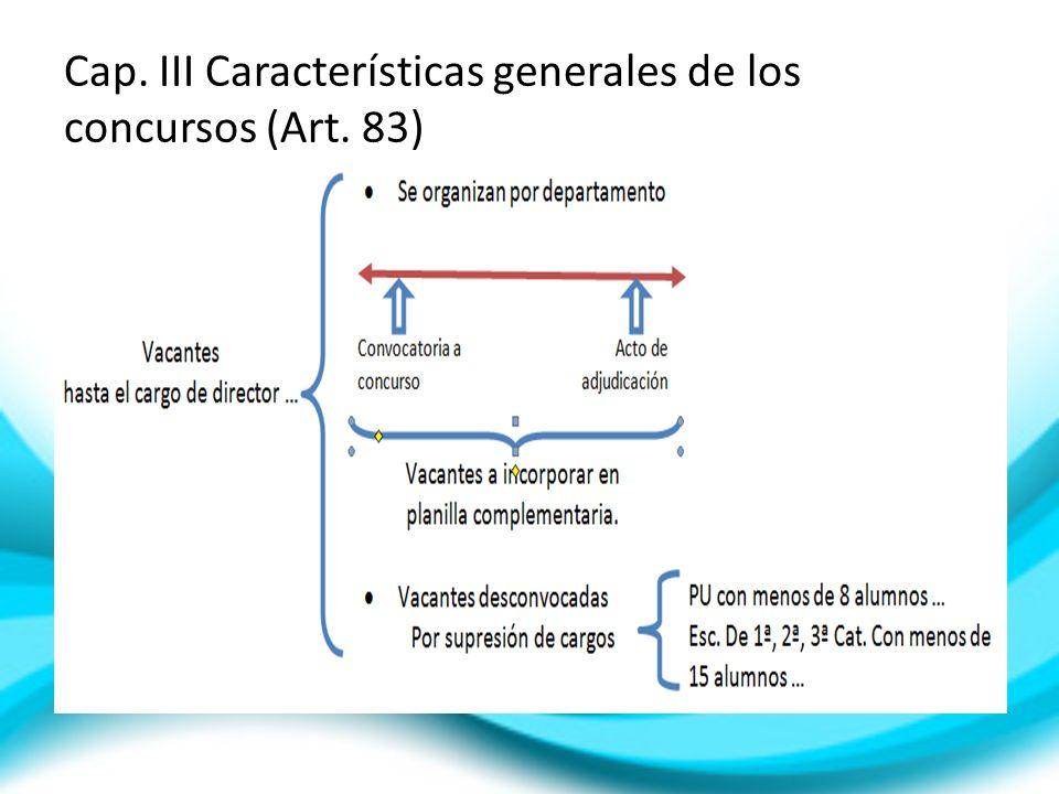 Cap. III Características generales de los concursos (Art. 83)