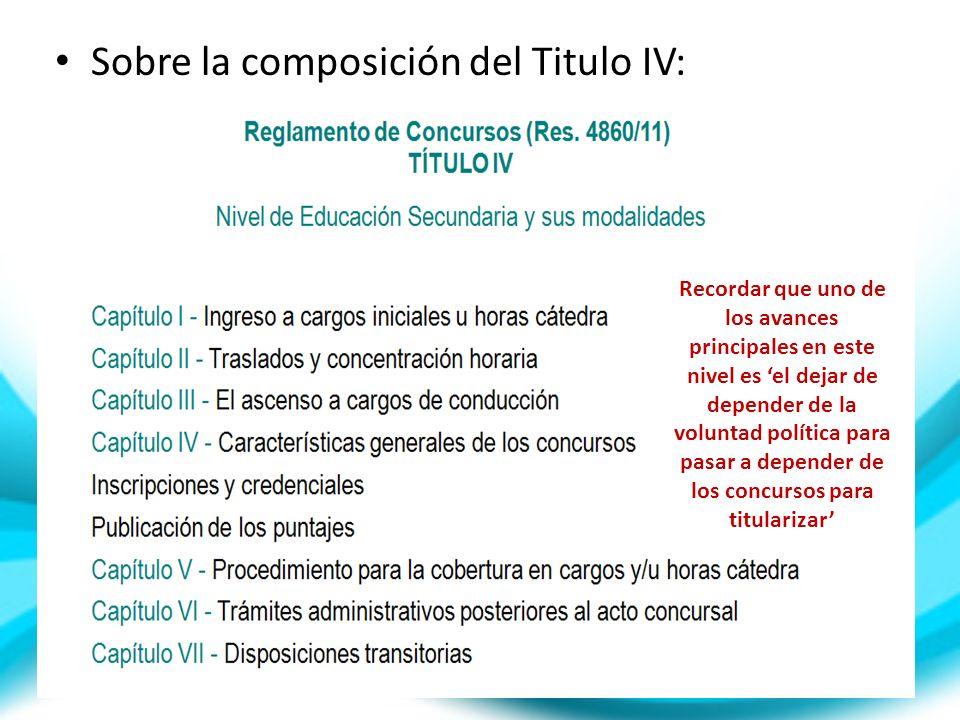 Sobre la composición del Titulo IV: