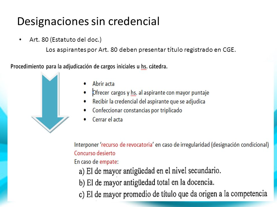 Designaciones sin credencial