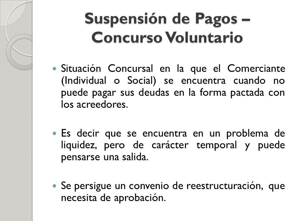 Suspensión de Pagos – Concurso Voluntario