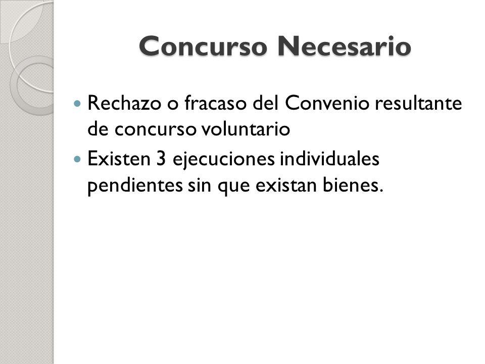 Concurso Necesario Rechazo o fracaso del Convenio resultante de concurso voluntario.