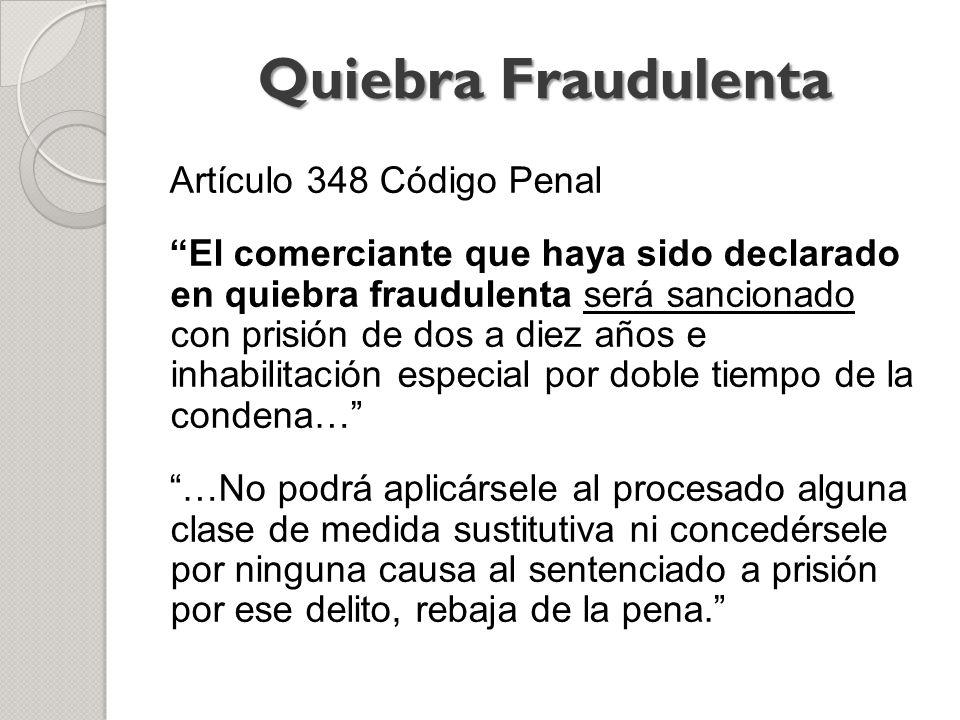 Quiebra Fraudulenta Artículo 348 Código Penal