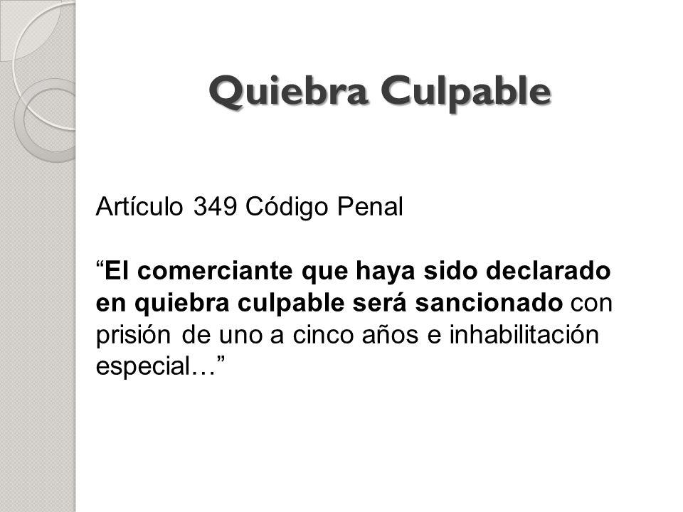 Quiebra Culpable Artículo 349 Código Penal