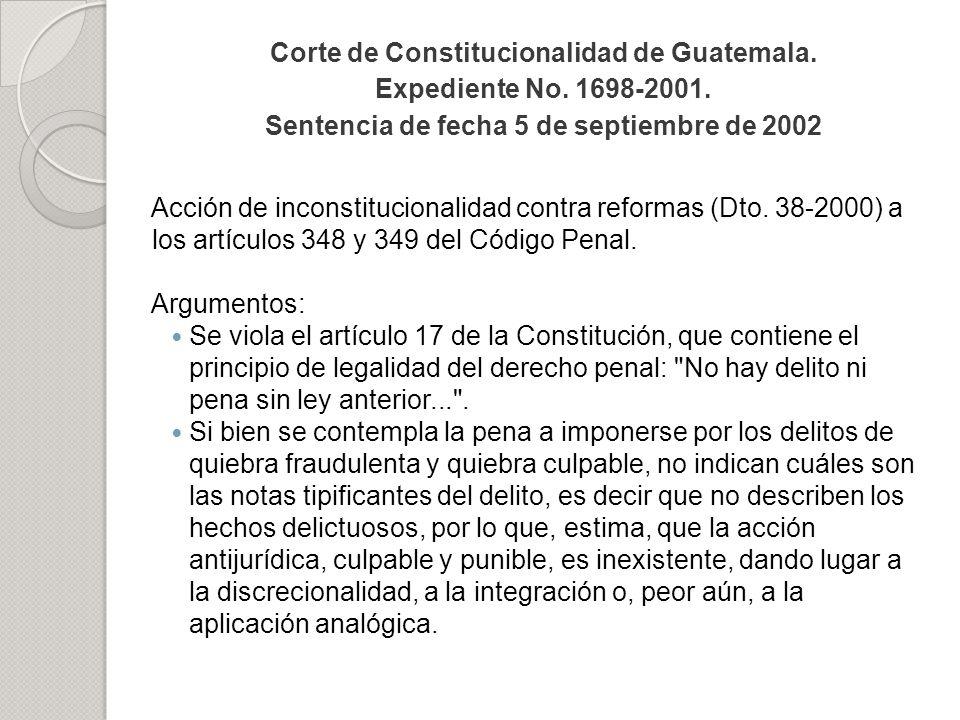Corte de Constitucionalidad de Guatemala. Expediente No. 1698-2001