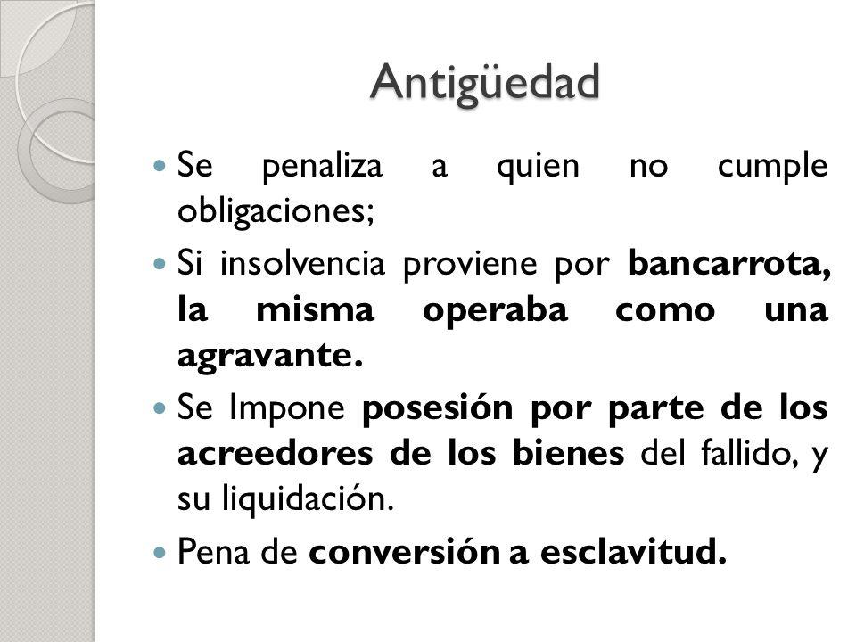 Antigüedad Se penaliza a quien no cumple obligaciones;