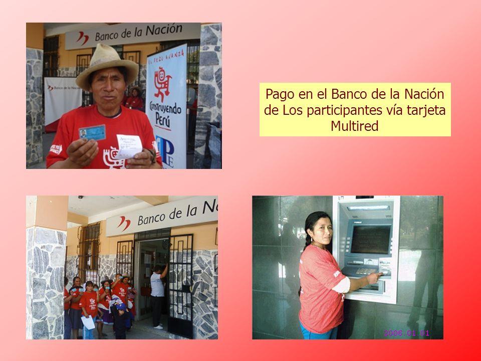 Pago en el Banco de la Nación de Los participantes vía tarjeta Multired