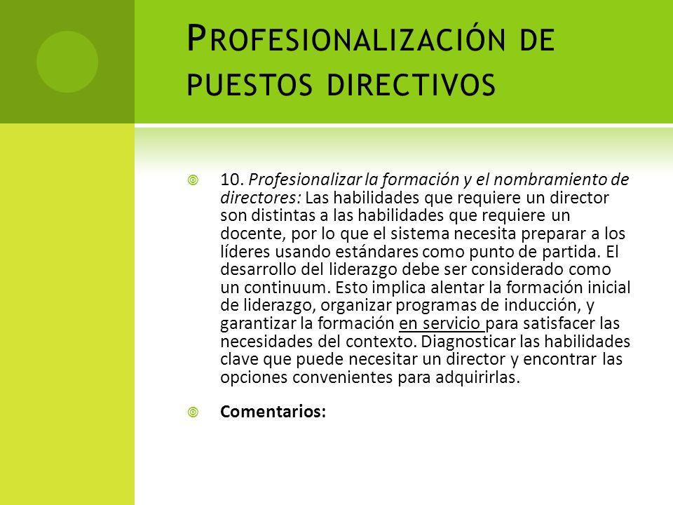 Profesionalización de puestos directivos