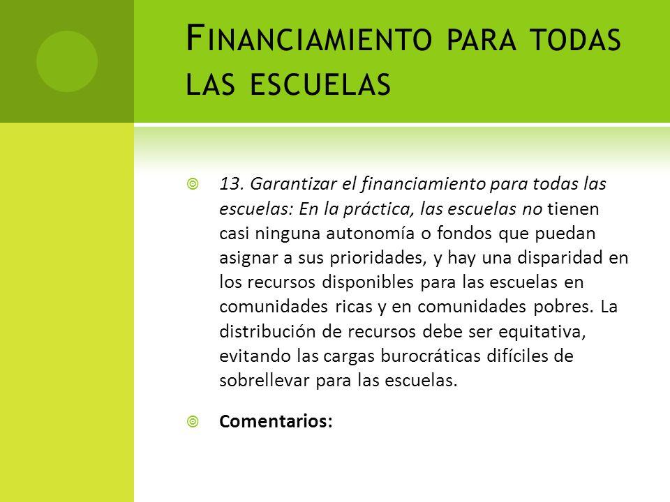 Financiamiento para todas las escuelas