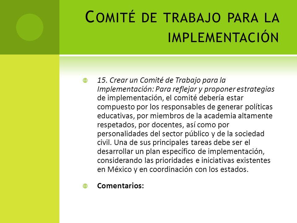 Comité de trabajo para la implementación