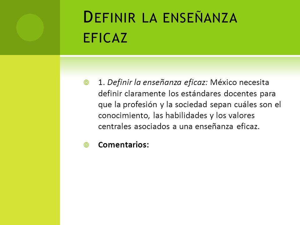 Definir la enseñanza eficaz