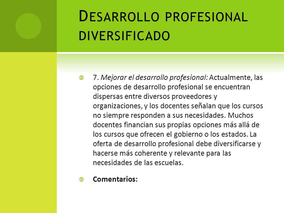 Desarrollo profesional diversificado