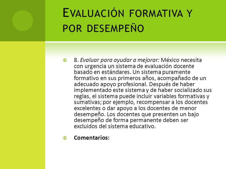 Evaluación formativa y por desempeño