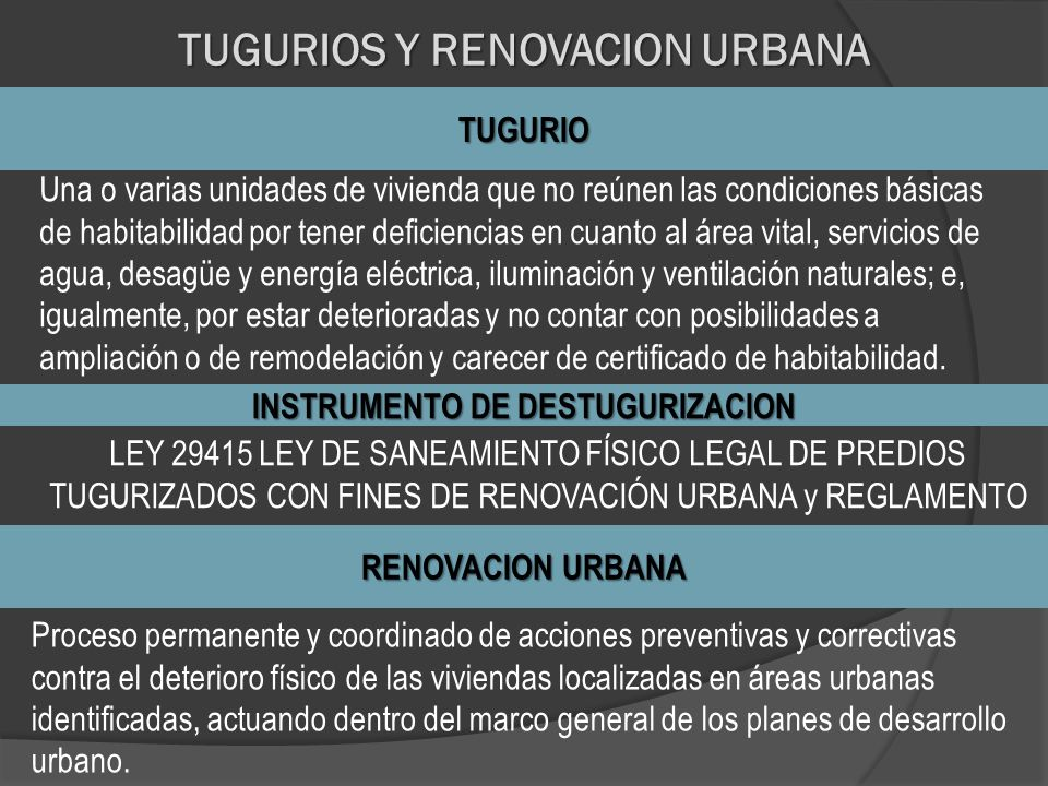 TUGURIOS Y RENOVACION URBANA