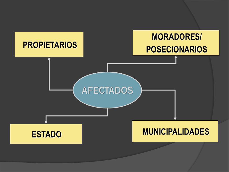 MORADORES/ POSECIONARIOS PROPIETARIOS AFECTADOS MUNICIPALIDADES ESTADO