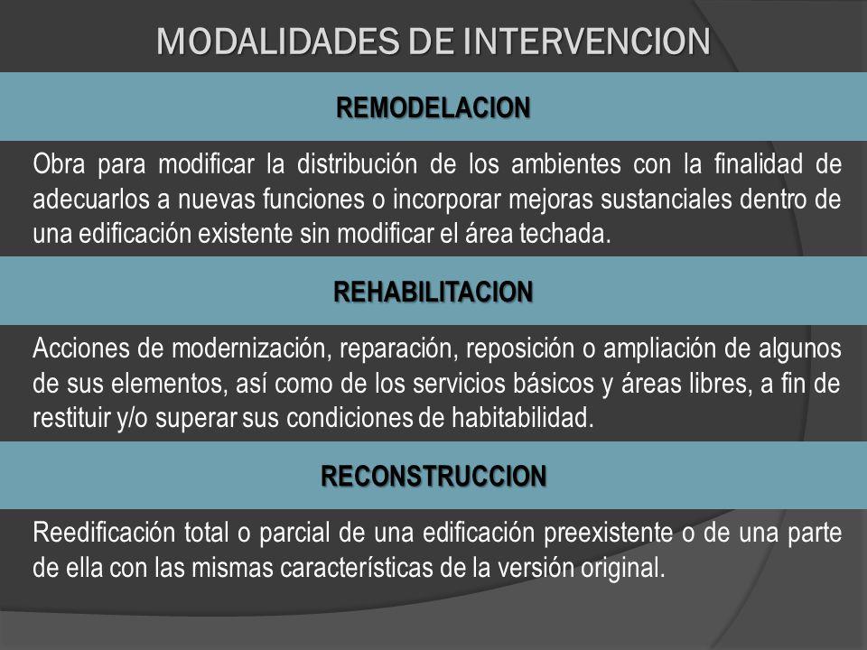 MODALIDADES DE INTERVENCION