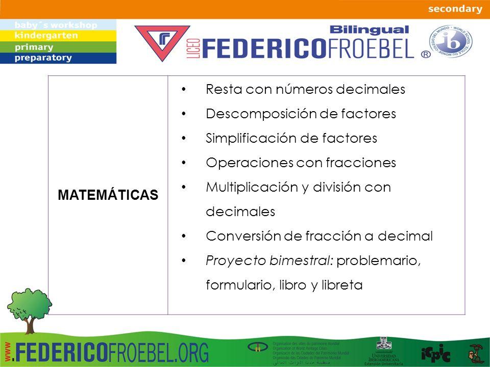 MATEMÁTICAS Resta con números decimales. Descomposición de factores. Simplificación de factores. Operaciones con fracciones.