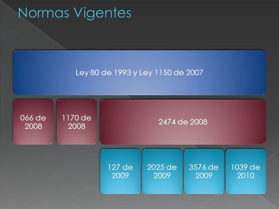Normas Vigentes Ley 80 de 1993 y Ley 1150 de 2007 066 de 2008