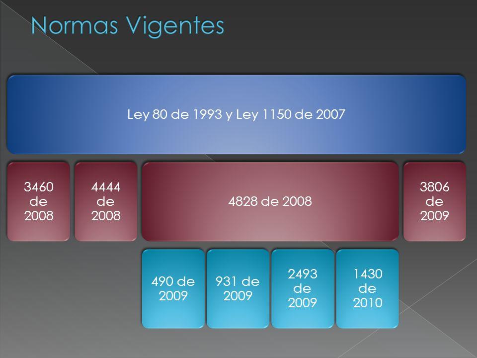 Normas Vigentes Ley 80 de 1993 y Ley 1150 de 2007 3460 de 2008